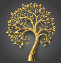 Golden Decorative Fairy Tree With Gold Leaves