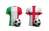 England Vs. Italy soccer match. National flags with football. 3D Rendering