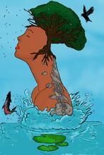 Mujer Con Naturaleza Representando La Belleza De Ambas