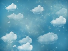 Sky Texture Background With Clouds And Bright And Fantasy Stars Of Blue, Bluish, Green And Greenish Color