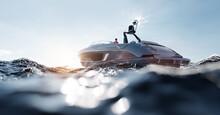 Catamaran Motor Yacht On The Ocean