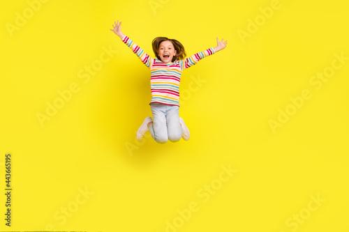 Fotografia, Obraz Full body photo of impressed short hairdo little girl jump wear shirt trousers s