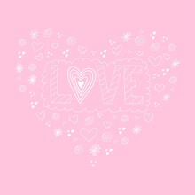 Love Phrase Lettering In White And Pink Color. Monochrome Hand Drawn Word With Heart Shape.