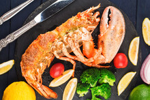 Lobster Thermidor, Grilled Lobster Stuffed With Cream And Cheese, Served With Lemon,Boston Lobster With Cheese