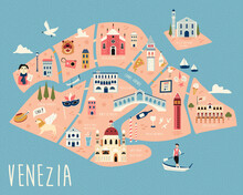 Illustrated Map Of Venice With Famous Symbols, Landmarks And Building.