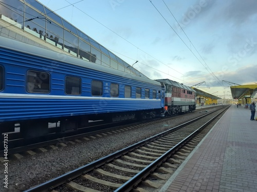 Fototapeta train on railway station