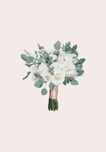 Bouquet Of White Roses. Vector Illustration