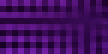 Black Purple Checkered Background. Wide Angle Rough Stylized Texture Wallpaper With Copy Space For Design.