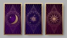 Tarot Cards Back Set With Golden Crescent, Sun, And Star Symbols