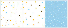 Abstract Geometric Seamless Vector Patterns With White, Yellow, Blue And Brown Irregular Brush Dots And Stars On A White And Blue Backgrounds. Simple Irregular Abstract Print. Dotted Backdrop.