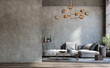 Leinwandbild Motiv Blank wall mockup in loft interior background, industrial style ,3d render