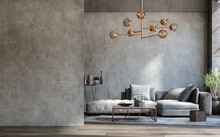 Blank Wall Mockup In Loft Interior Background, Industrial Style ,3d Render