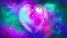 Glowing Heart Shape Colored Moon Texture With Galaxy Background