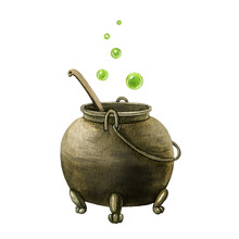 Old Metal Kettle. Watercolor Illustration. Magic Pot With Potion, Green Bubbles. Halloween Decor Element. Witch Cooking Traditional Kettle Object. Vintage Caldron On White Background