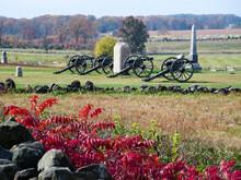Gettysburg Cannons In The Fields