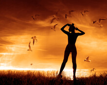 Birds Fly Into The Woman Hands Against The Background Of A Sunny Sunset. Woman On Sunset Sky At Beach And Island. Freedom And Travel Adventure Concept.