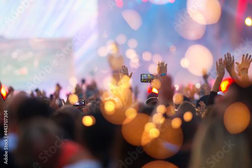Fotografering Summer festival concert crowd lights