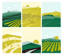 Set Of Vector Agriculture Posters With Farm Land, Nature Scenery, Agri Landscape. Agricultural Field, Farming Pasture Illustration. Banners With Summer Rural Scene, Autumn Harvest. Abstract Background