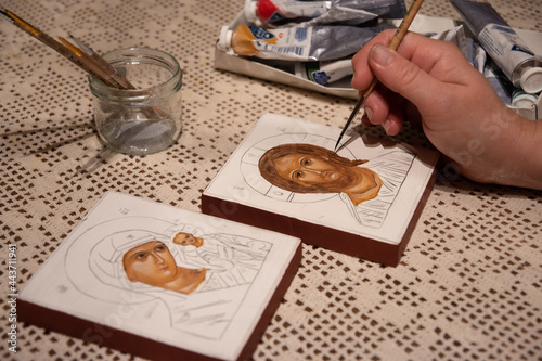 Fotomural Hand painted orthodox icon during painting on piece of wood