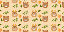 Seamless Pattern, Different Realistic Forest Animals - Vector