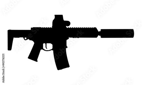 Fotografia ar15 q honey badger sbr rifle silhouette against white