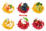 Apple, grapes, pear, cherry, pomegranate juice. Fresh fruits and splashes, 3d realistic vector icon set