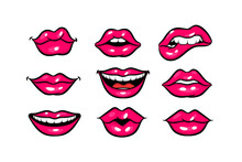Pink Red Woman Lips In Pop Art Style Set. Cartoon Girl Make Up Vector Illustration. Sexy Pop Art Lips Sticker With Open Mouth And Smile. Vintage Cartoon Pop Art Set Of Girl Pink Lips.