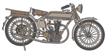 The Hand Drawing Of A Vintage Sand Military Motorcycle
