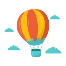 Summer Travel Hot Air Balloon Vector Illustration, Simple And Cute Flat Design