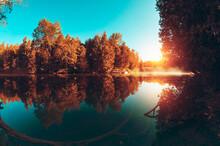Lake Reflected In Sunrise