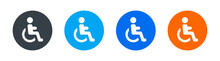 Handicapped Patient In Wheelchair Icon Vector Sign. Disability Concept