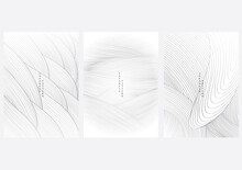 Abstract Art Background With Line Pattern Vector. Hand Drawn Wave With Grey Banner Design.
