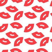 Seamless Pattern With Red Lips Kiss White Background Vector Illustration