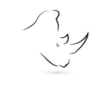 Line Vector Figure Of Rhino. Vector Outline African Animal For Web And Design.