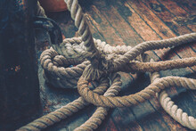 Close-up Of An Old Boat Rope; Vintage Style