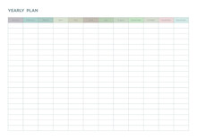 Note, Scheduler, Diary Planner Document Template Illustration. Yearly Plan Form.