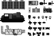 Chiller Plant Room Eqipment Graphics For HVAC Design In 2D. Check My Other Graphics For More Diversity.  Contact For Customisation.