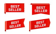 Best Seller Red Sticker And Tag Isolated On White Background