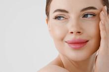 Beautiful Woman Face Healthy Skin Natural Make Up Lips Close Up Blue Eyes