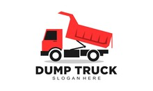 Red Dump Truck Vector Logo