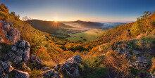 Mountain Valley Forest In Autumn With Village In Slovakia