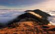 Leinwandbild Motiv Morning sun panorama, beautiful fluffy clouds and forest at mount Suchy in Slovakia, Mala Fatra