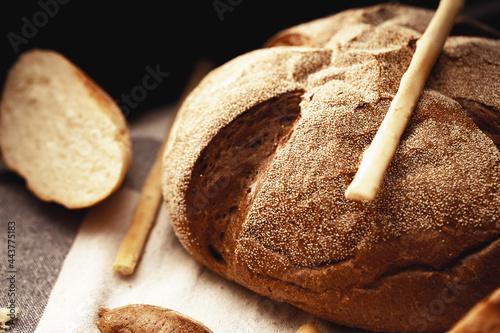 Fototapeta Macro shot of freshly baked bread loaf