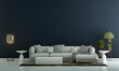 Leinwandbild Motiv Modern living room interior and sofa and blue empty wall texture background