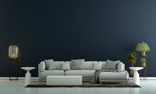 Modern Living Room Interior And Sofa And Blue Empty Wall Texture Background