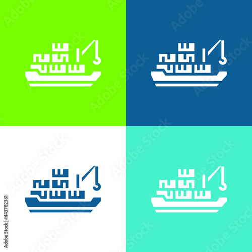 Canvas Barge Flat four color minimal icon set