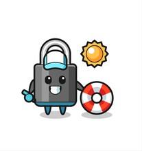 Cartoon Mascot Of Padlock As A Beach Guard
