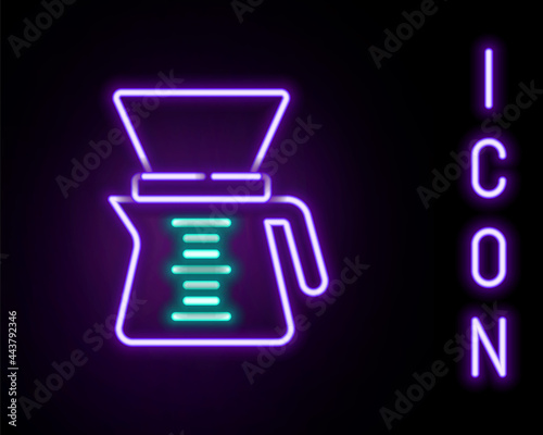 Fotografie, Obraz Glowing neon line Pour over coffee maker icon isolated on black background