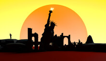 Abstract Sunset With Destroyed City And The Statue Of Liberty. Banner. Background. 3d Illustration.