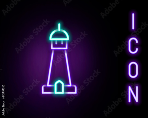 Fotomural Glowing neon line Mosque tower or minaret icon isolated on black background